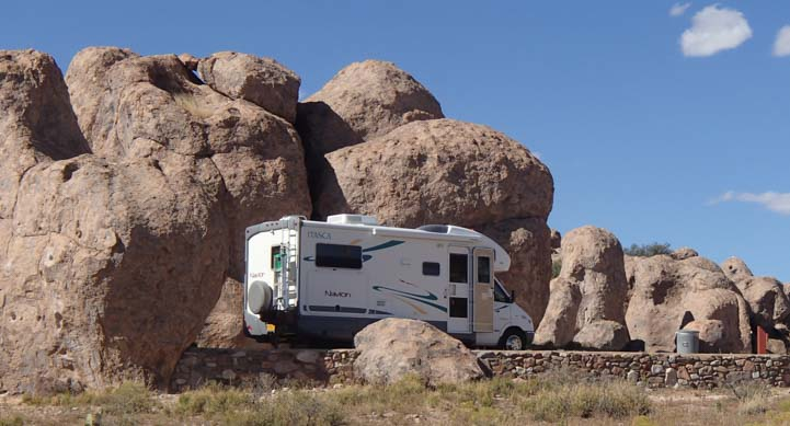 Motorhome at City of Rocks Campground New Mexico