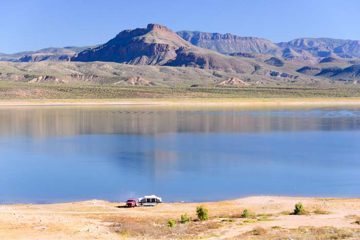 RV boondocking Popup tent trailer Roosevelt Lake Arizona