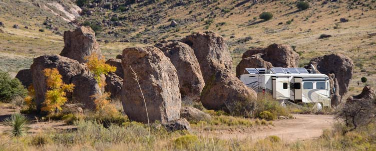 RV with solar panels City of Rocks New Mexico campground