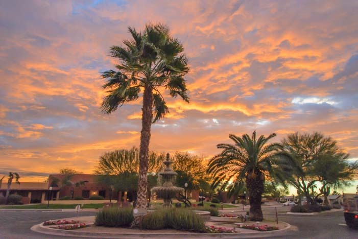 Sunset fountain Monte Vista Village RV Resort Arizona