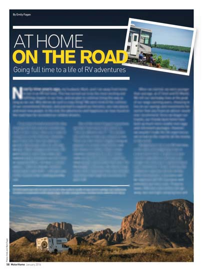 Motorhome Magazine At Home on the Road by Emily Fagan