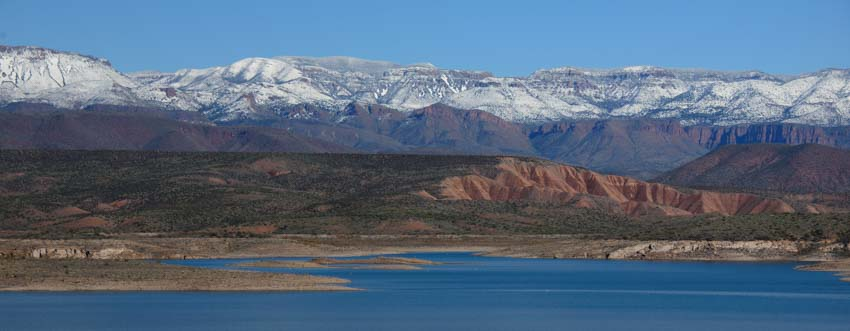 Snow on mountains Sonoran Desert Arizona Roosevelt Lake