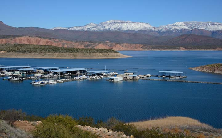 Roosevelt Lake Marina Arizona snow in mountains