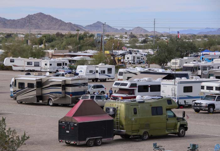 Unusual RV parking in the Arizona desert Quartzsite