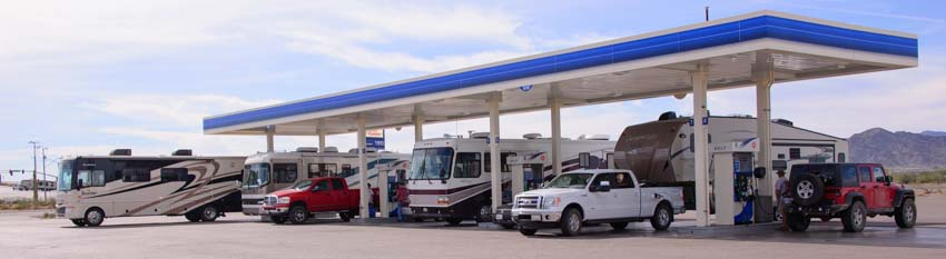 RV lineup at gas pump Quartzsite Arizona