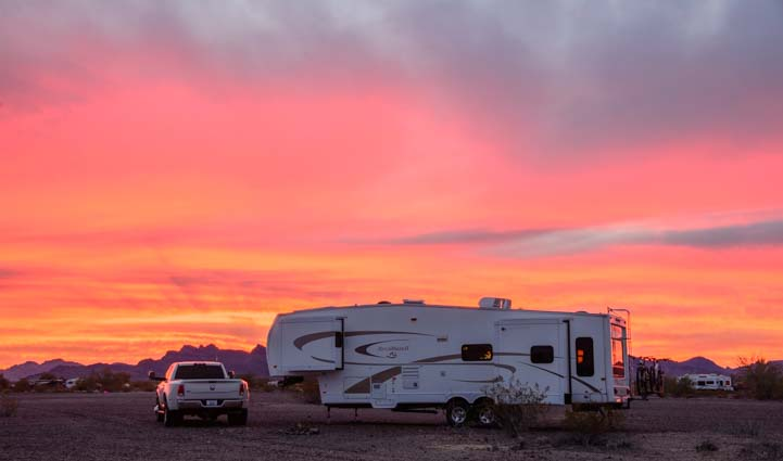 RV sunset Quartzsite Arizona BLM land