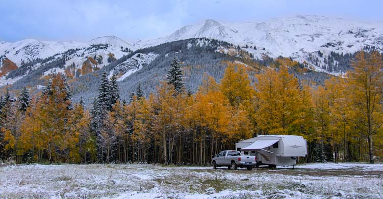 RV in snow San Juan Mountains Colorado