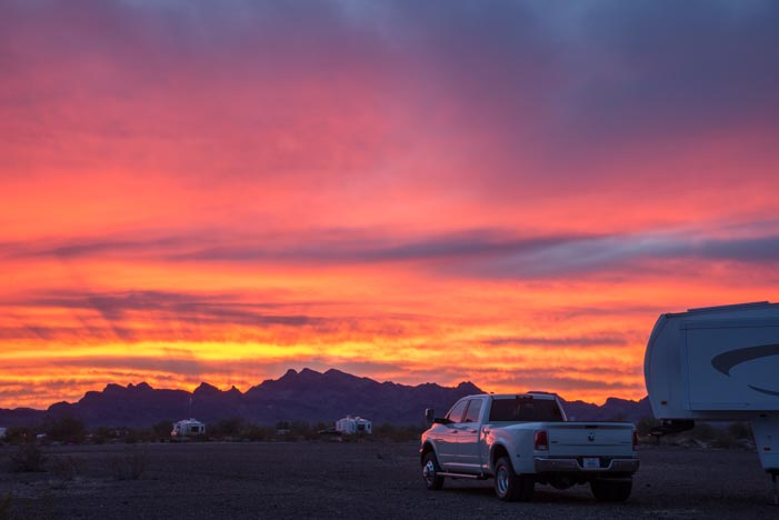 Sunset Quartzsite Arizona RV