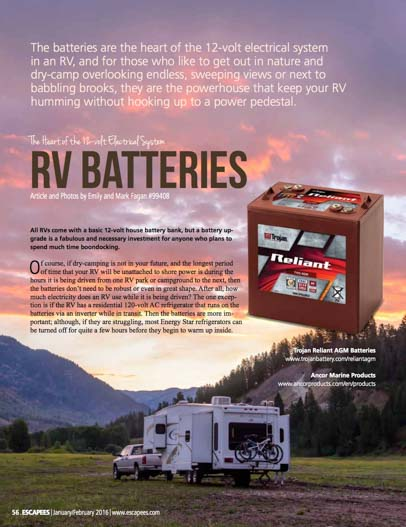 RV batteries Escapees Magazine January 2016