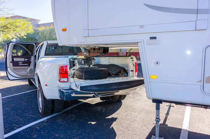A long bed truck allows the tailgate to be open when hitched to a fifth wheel trailer