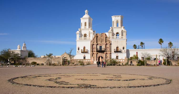 Mosaic circle in front of San Xavier Mission Tucson AZ