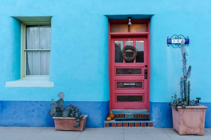 Adobe door in Historic Tucson district Arizona