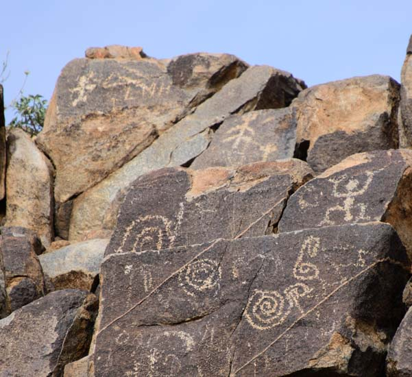 Spiral and people petroglyphs Saguaro National Park Signal Hill Arizona