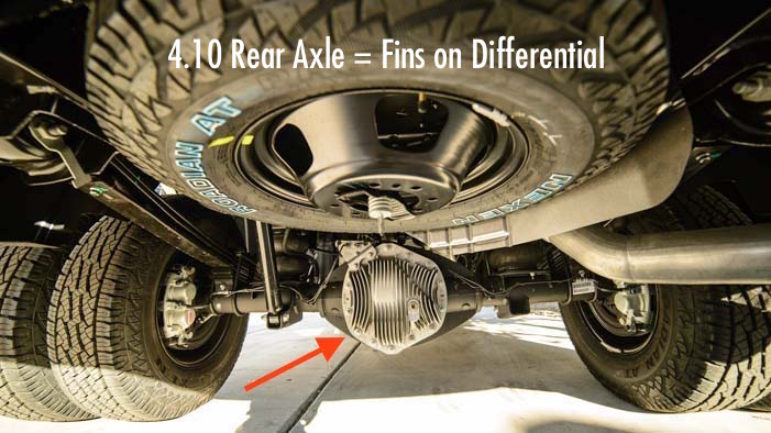 Cooling fins on 4.10 differential for 4.10 rear axle gear ratio