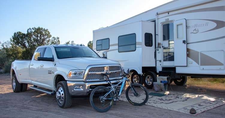 2016 Dodge Ram 3500 dually 36' 5th wheel RV at campsite