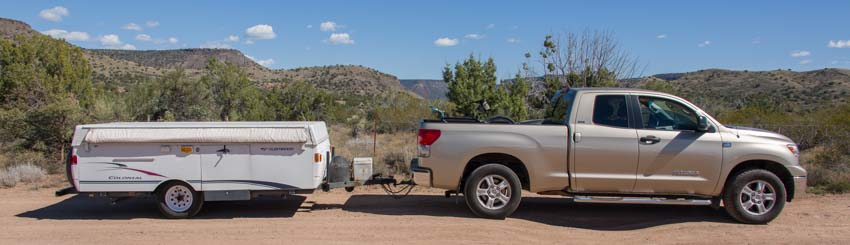 Toyota Tundra towing a popup camper