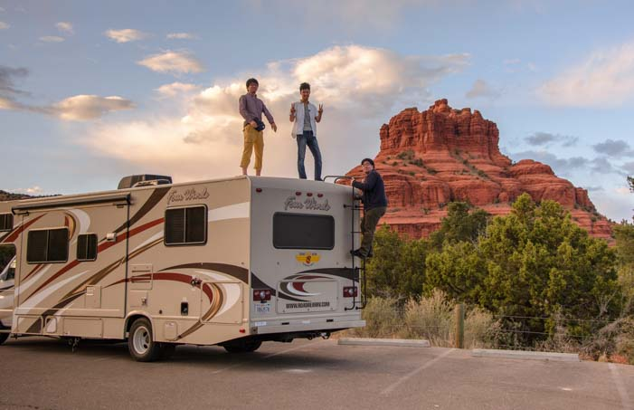 RV motorhome at Bell Rock Sedona Arizona