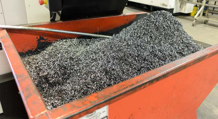 Metal shavings from B&W Hitches recycled at Missouri Metals