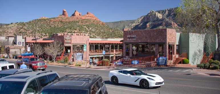 Sports car in Sedona Arizona town center