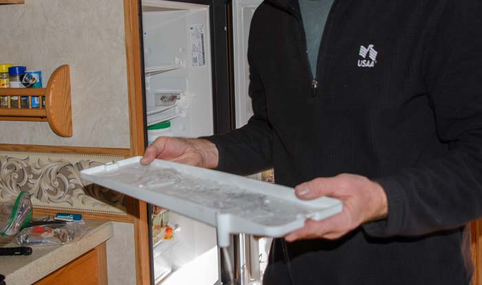 Ice in RV refrigerator drip tray
