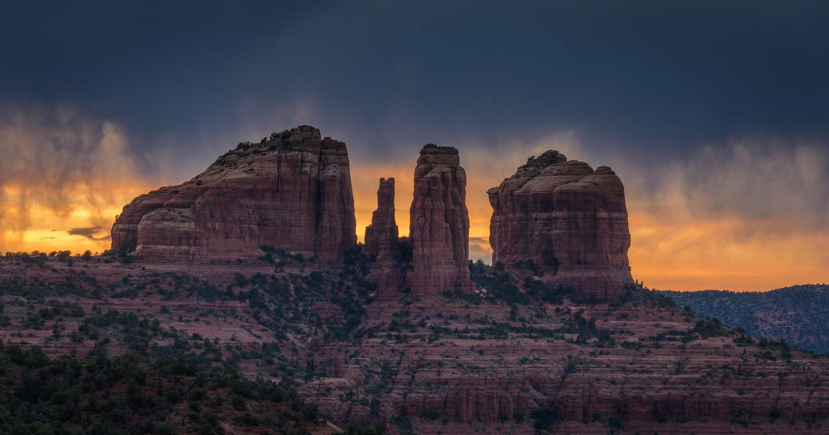 Sedona Az Brooding Skies At Sunset In The Red Rocks