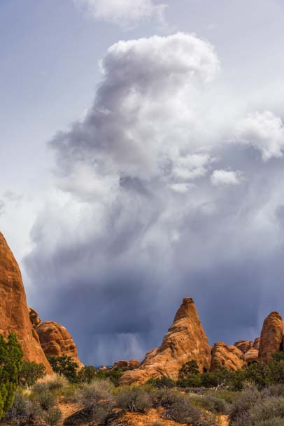 Storm clouds at Arches National Park