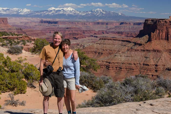 Hikers Utah Canyonlands National Park Island in the Sky  Shafer Canyon