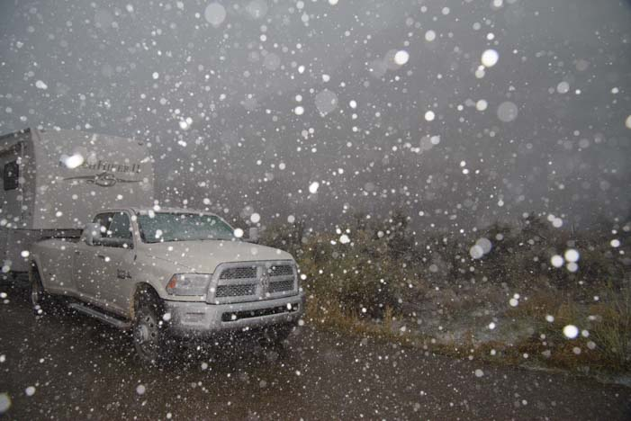 Snow on RV in Canyonlands National Park Utah