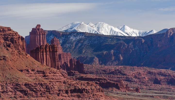 Red rocks and snow capped mountains Moab Utah