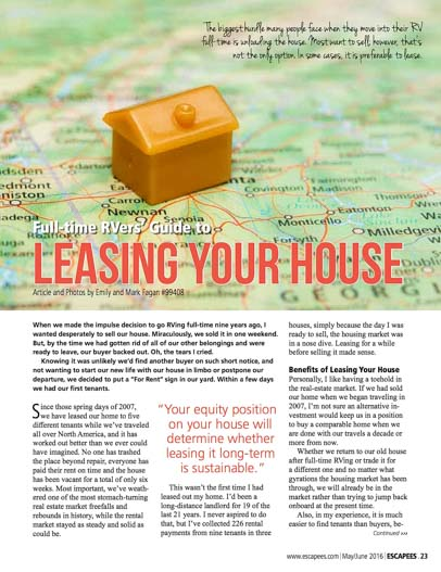 Full-time RVer's Guide to Leasing Your House Escapees RV Club Magazine May-June 2016