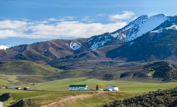 Farm and mountain scenery southeastern Idaho