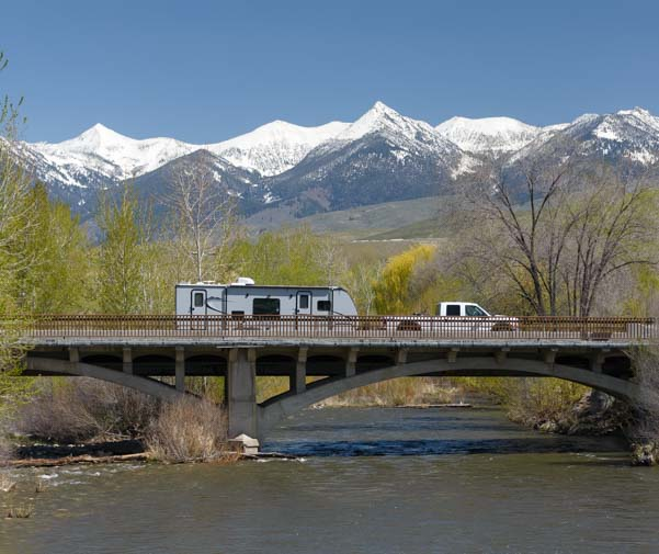 RV travel trailer on bridge Salmon Idaho