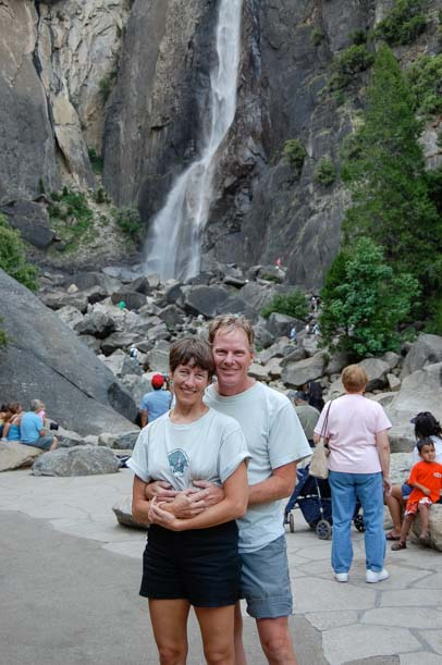 Happy RV campers at Bridal Veil Falls Yosemite National Park California