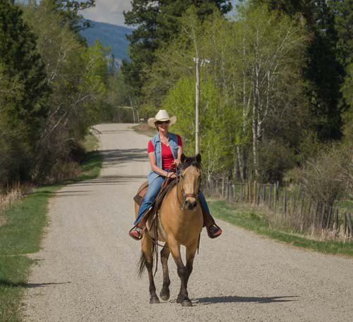 Riding a horse in the Bitterroot Valley Montana