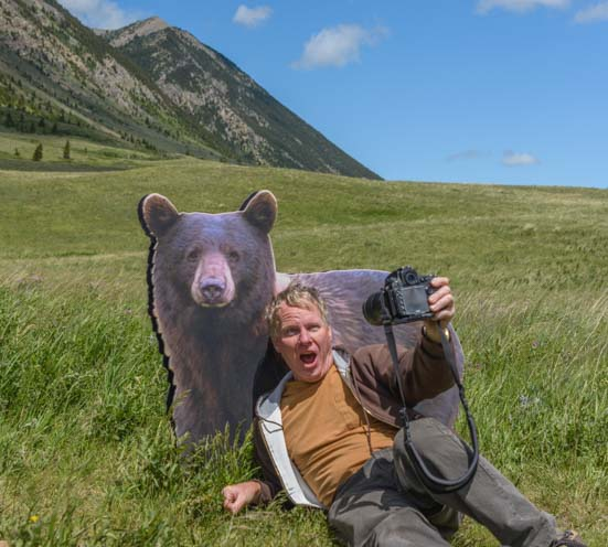 Selfie photo taken with a bear