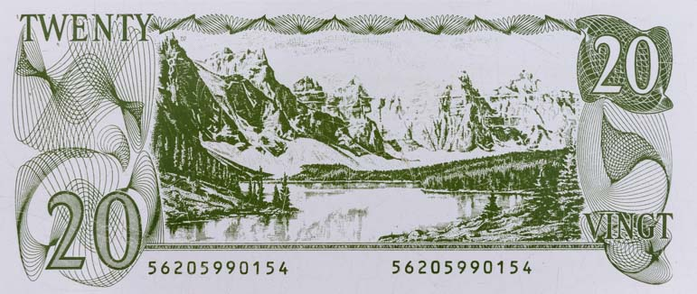 Moraine Lake Canada 20 dollar bill