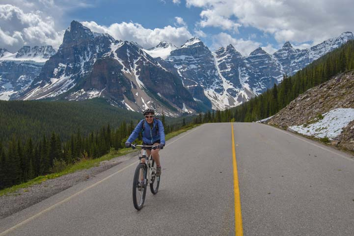 Bike Ride Moraine Lake at Lake Louise Banff National Park Canada