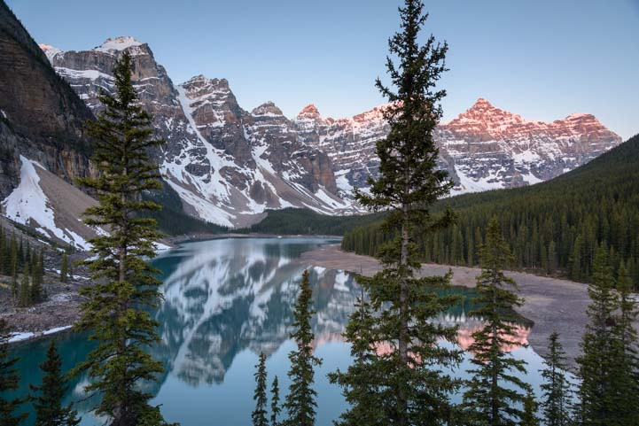 Sunrise Moraine Lake at Lake Louise Banff National Park