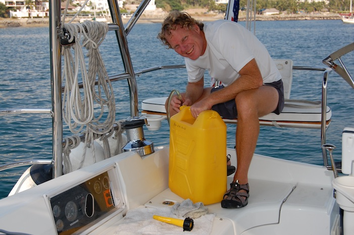 Filling the diesel tank with jerry jugs cruising Mexico