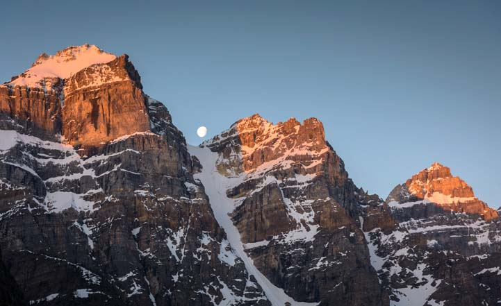 Moon at dawn Moraine Lake Banff National Park Canada