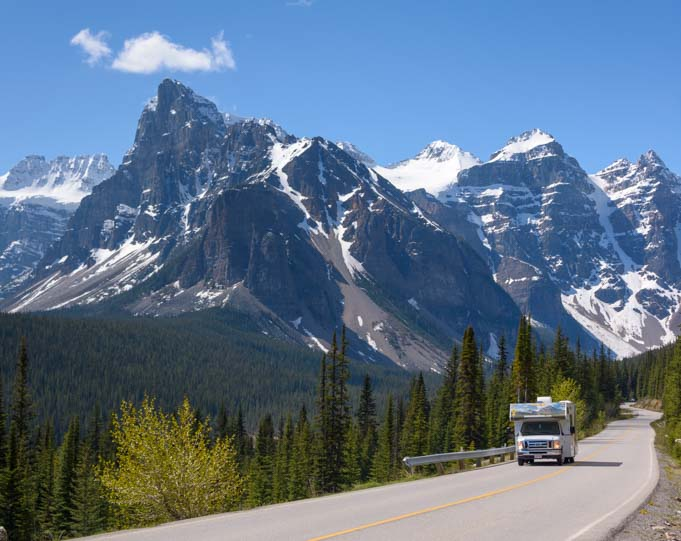 RV travel Moraine Lake Banff National Park Alberta Canada
