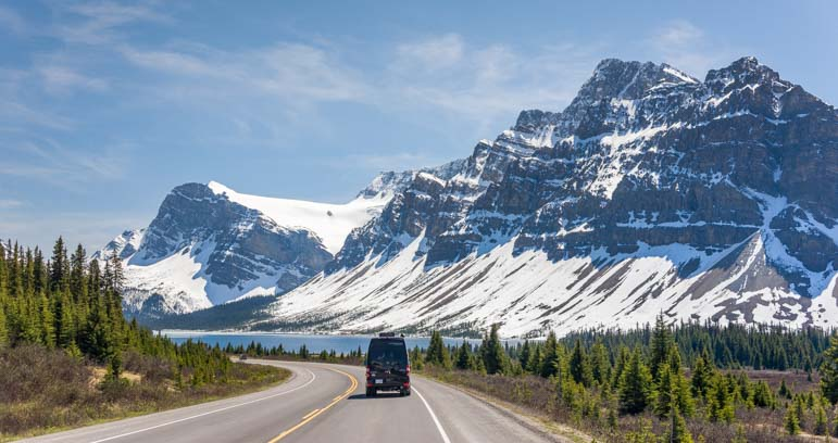 RV at Bow Lake Banff National Park Icefields Parkway