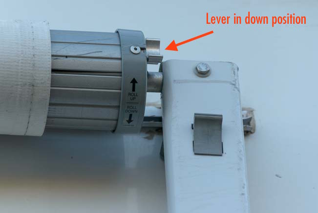 How to set up RV awning - lever in lowered position