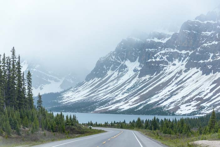 Icefields Parkway Canada Rocky Mountains Snow and Mist