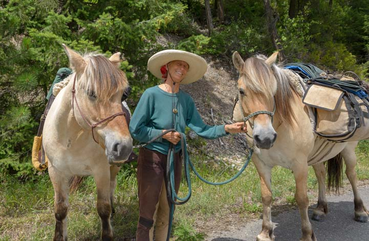 Long Ride Lady Bernice Ende with horses in Montana