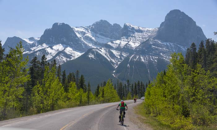 Cycling in the Canadian Rockies Canmore Alberta Canada