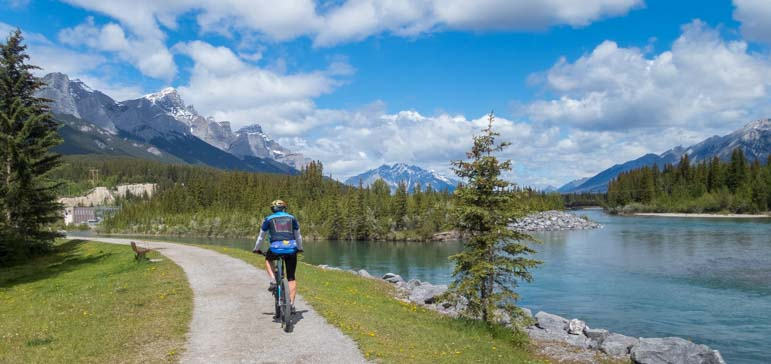 Bicycling the bike trail Canmore Alberta Canada