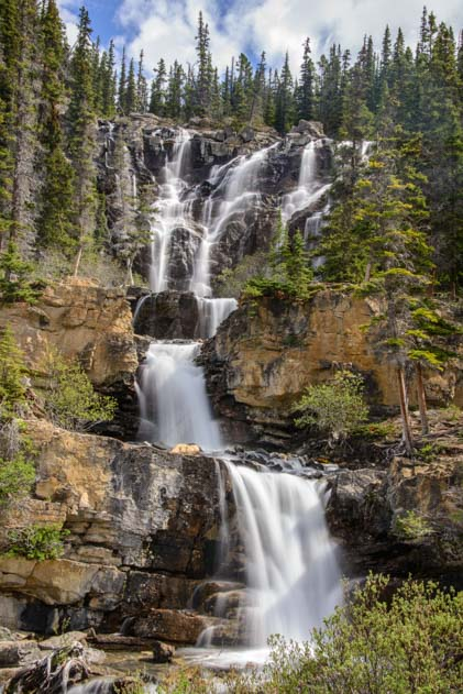 Waterfall Icefields Parkway Jasper National Park Alberta Canada Rocky Mountains