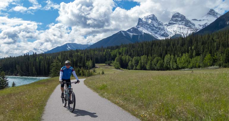 Bicycling the bike path Canmore Alberta Canada
