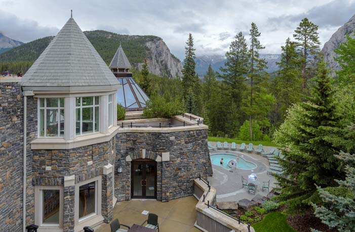 Turrets and pool Fairmont Springs Hotel Banff Alberta Canada
